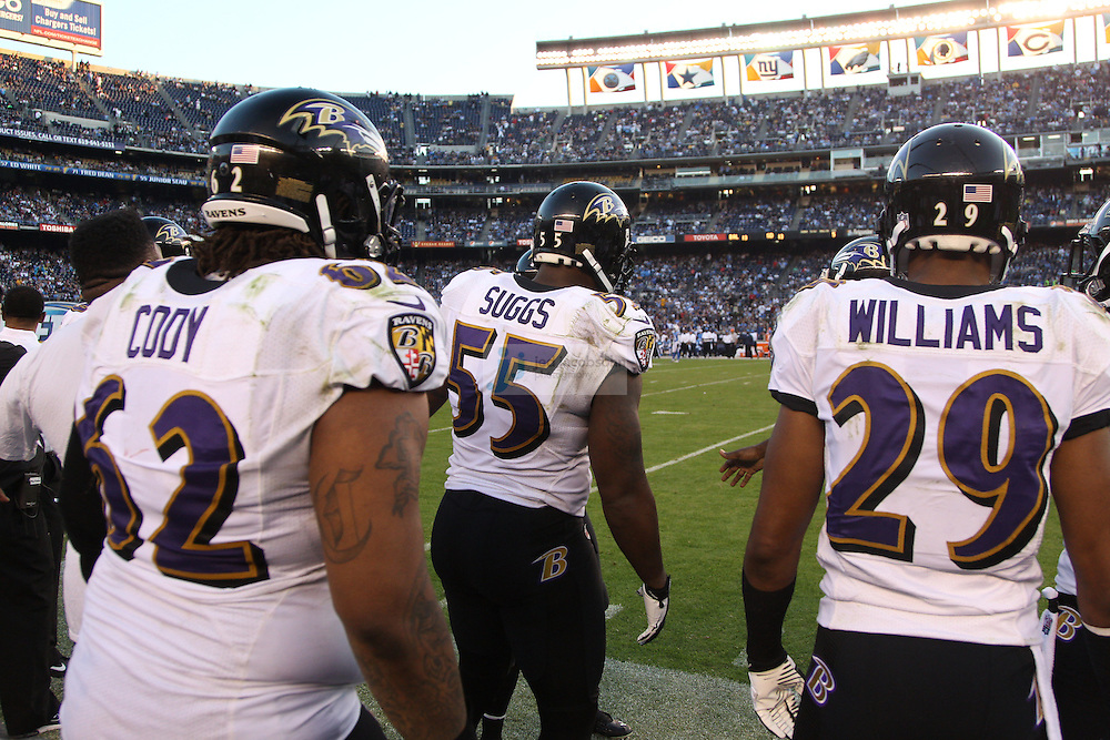Baltimore Ravens linebacker Terrell Suggs (55) looks on against the San Diego Chargers during an NFL game on Sunday, November 25, 2012 in San Diego, CA.  (Photo by Jed Jacobsohn)