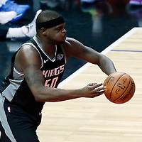 26 December 2017: Sacramento Kings forward Zach Randolph (50) passes the ball during the LA Clippers 122-95 victory over the Sacramento Kings, at the Staples Center, Los Angeles, California, USA.