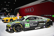 A silver Audi R8 LMS V10 endurance racer, and yellow Audi R8 Spyder V10 making its world premiere , are shown at the New York International Auto Show 2016, at the Jacob Javits Center. This was Press Preview Day one of NYIAS, and the Trade Show will be open to the public for ten days, March 25th through April 3rd.