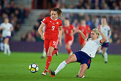 SOUTHAMPTON, ENGLAND - Friday, April 6, 2018: Wales' Kayleigh Green and England's captain Steph Houghton during the FIFA Women's World Cup 2019 Qualifying Round Group 1 match between England and Wales at St. Mary's Stadium. (Pic by David Rawcliffe/Propaganda)