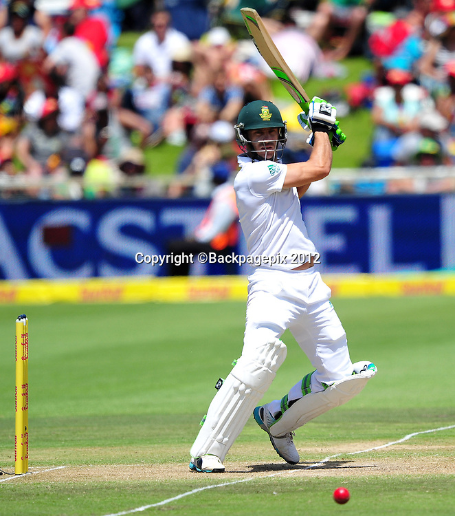 Faf du Plessis of South Africa during day 2 of the Sunfoil Test Series 2014/15 game between South Africa and the West Indies at Newlands Stadium, Cape Town on 3 January 2015 ©Ryan Wilkisky/BackpagePix