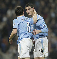 Photo: Aidan Ellis.<br /> Manchester City v Charlton Athletic. The Barclays Premiership. 12/02/2006.<br /> City's Albert Piera congratulates Joey Barton after his wonder strike scored the third goal