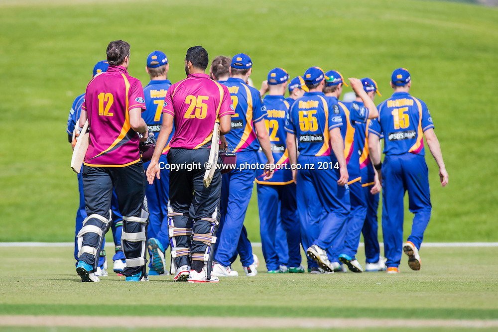 Otago Volts take the win - Volts v Knights, Saturday, 27 December 2014, Molyneux Park, Alexandra - List-A Match - Ford Trophy CREDIT: Libby Law / www.photosport.co.nz
