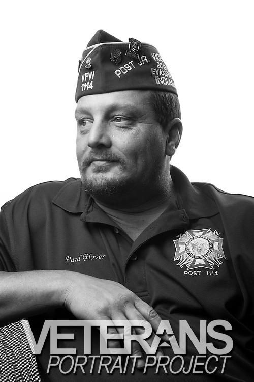 Paul W. Glover<br /> Army<br /> SSG (E-5)<br /> M1A1 Tanker<br /> Jan. 1991 - Jan. 2011<br /> Gulf War, Bosnia, Kuwait, OIF<br /> <br /> Veterans Portrait Project<br /> Louisville, KY<br /> VFW Convention <br /> (Photos by Stacy L. Pearsall)