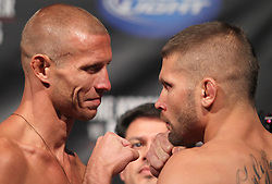 Fairfax, VA - May 14, 2012: Donald Cerrone (left) and Jeremy Stephens (right) during the UFC on FUEL TV 3 weigh-in at the Patriot Center in Fairfax, Virginia.