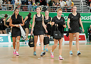 8th April 2018, Gold Coast, Gold Coast Convention and Exhibition Centre, Australia; Commonwealth Games day 4; Netball, Malawi versus New Zealand; New Zealand players walk off after their defeat by Malawi 57-53
