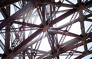 Abstracted detail view of the Golden Gate Bridge, as seen from Fort Point, San Francisco