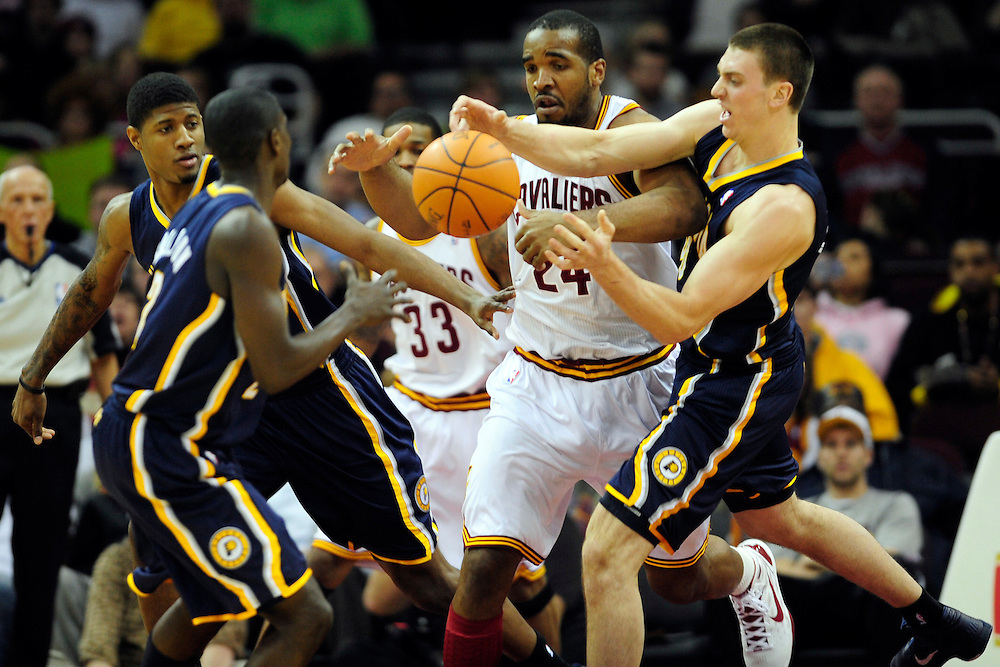 Feb. 2, 2011; Cleveland, OH, USA; Indiana Pacers power forward Tyler Hansbrough (50) steals the ball from Cleveland Cavaliers power forward Samardo Samuels (24) during the first quarter at Quicken Loans Arena. Mandatory Credit: Jason Miller-US PRESSWIRE