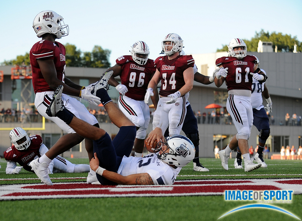Sep 9, 2017; Amherst, MA, USA; Old Dominion quarterback Jordan Hoy (12) scores a touchdown during a NCAA football game at McGuirk Alimni Stadium. The Old Dominion Monarchs defeated the University of Massachusetts Minutemen 17-7. Photo by Reuben Canales