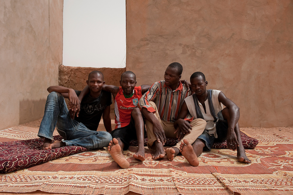 Young african migrants from Burkina Faso in a ghetto in Agadez