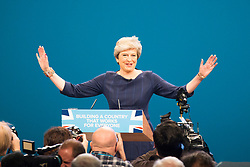 © Licensed to London News Pictures. 04/10/2017. Manchester UK. Theresa May is making her speech on the third & final day of the Conservative Party Conference today in Manchester. Photo credit: Andrew McCaren/LNP