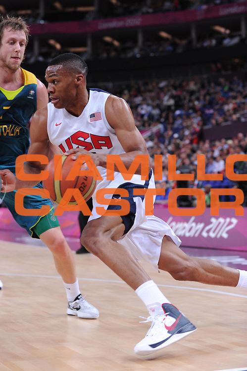 DESCRIZIONE : London Londra Olympic Games Olimpiadi 2012 Men Quarterfinal Usa Australia<br /> GIOCATORE : Russell Westbrook<br /> CATEGORIA :<br /> SQUADRA : Usa <br /> EVENTO : Olympic Games Olimpiadi 2012<br /> GARA : Usa Australia<br /> DATA : 08/08/2012<br /> SPORT : Pallacanestro <br /> AUTORE : Agenzia Ciamillo-Castoria/M.Marchi<br /> Galleria : London Londra Olympic Games Olimpiadi 2012 <br /> Fotonotizia : London Londra Olympic Games Olimpiadi 2012 Men Quarterfinal Usa Australia<br /> Predefinita :