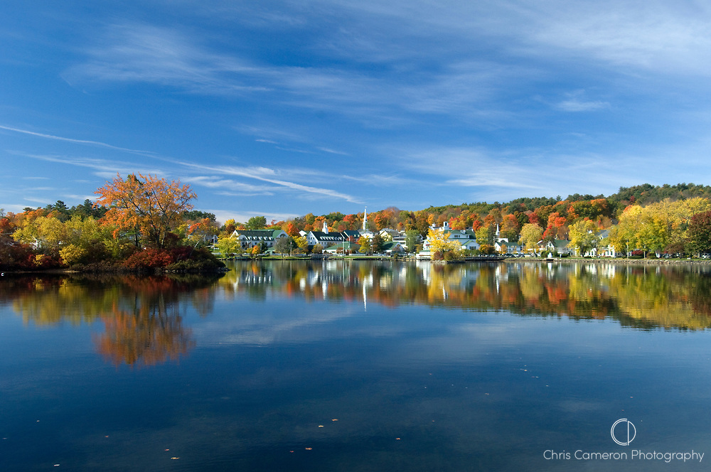 The township of Meredith on lake Winnipesaukee, New Hampsire, New England, USA during the fall when the leaves change colour.