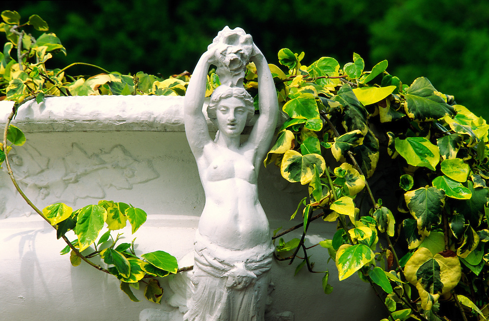 The Chateau of Chenonceau, Indre et Loire region of France. Ornamental urns garden detail
