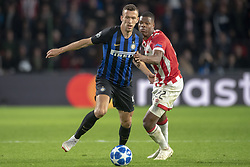 October 4, 2018 - Eindhoven, Netherlands - Ivan Perisic of Inter and Denzel Dumfries of PSV during the UEFA Champions League Group B match between PSV Eindhoven and FC Internazionale Milano at Philips Stadium in Eindhoven, Holland on October 3, 2018  (Credit Image: © Andrew Surma/NurPhoto/ZUMA Press)