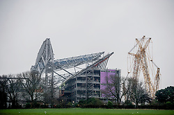 LIVERPOOL, ENGLAND - Sunday, December 12, 2015: A view looking across Stanley Park towards Anfield Stadium, as work continues on the multi-million pound redevelopment of the Main Stand ahead of Liverpool's fixture against West Bromwich Albion in the Premier League. (Pic by David Rawcliffe/Propaganda)
