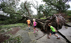 September 11, 2017 - Maitland, Florida, U.S. - Kids play among fallen oak trees in the Dommerich Estates neighborhood on Monday, after Hurricane Irma passed through central Florida on Sunday night. (Credit Image: © Joe Burbank/TNS via ZUMA Wire)