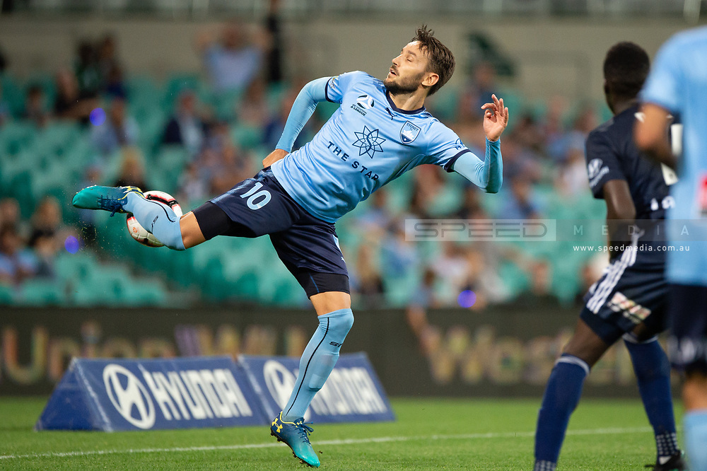 SYDNEY, AUSTRALIA - APRIL 06: Sydney FC midfielder Milos Ninkovic (10) tries to control the ball at round 24 of the Hyundai A-League Soccer between Sydney FC and Melbourne Victory on April 06, 2019, at The Sydney Cricket Ground in Sydney, Australia. (Photo by Speed Media/Icon Sportswire)