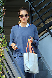 EXCLUSIVE: Actress and business woman Jessica Alba is seen channeling Justin Bieber fashion as she sports a pair of Gucci flip flops with white socks accompanied by a baggy outfit, as the make up free beauty hits her early morning workout. 08 Sep 2018 Pictured: Jessica Alba. Photo credit: Rachpoot/MEGA TheMegaAgency.com +1 888 505 6342