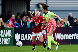 Katie Robinson of Bristol City challenges Caroline Weir of Manchester City Women - Mandatory by-line: Ryan Hiscott/JMP - 24/11/2019 - FOOTBALL - Stoke Gifford Stadium - Bristol, England - Bristol City Women v Manchester City Women - Barclays FA Women's Super League