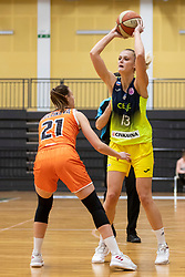 Lucia Kelcikova of MBK Ruzomberok and Larisa Ocvirk of ZKK Cinkarna Celje in action during basketball match between ZKK Cinkarna Celje (SLO) and MBK Ruzomberok (SVK) in Round #6 of Women EuroCup 2018/19, on December 13, 2018 in Gimnazija Celje Center, Celje, Slovenia. Photo by Urban Urbanc / Sportida