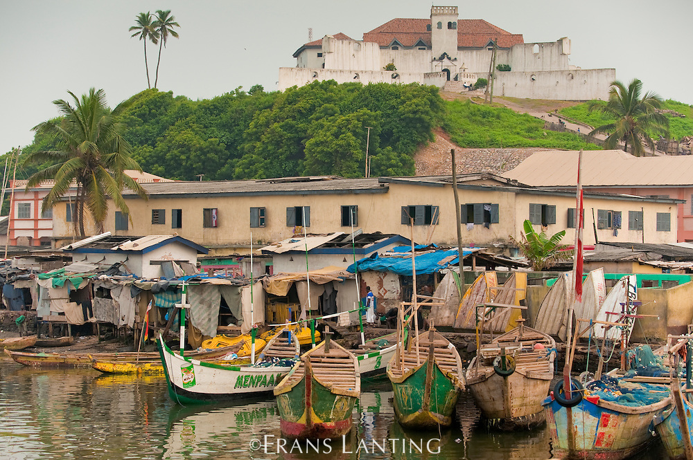 Fishing canoes in harbor with Dutch fortress on hill above, Elmina, Ghana