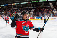 KELOWNA, CANADA - NOVEMBER 17: Leif Mattson #28 of the Kelowna Rockets celebrates a first period goal against the Lethbridge Hurricanes on November 17, 2017 at Prospera Place in Kelowna, British Columbia, Canada.  (Photo by Marissa Baecker/Shoot the Breeze)  *** Local Caption ***