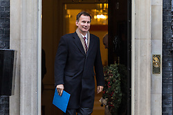 London, December 19 2017. Health Secretary Jeremy Hunt leaves 10 Downing Street following the last cabinet meeting before the Christmas break. © Paul Davey