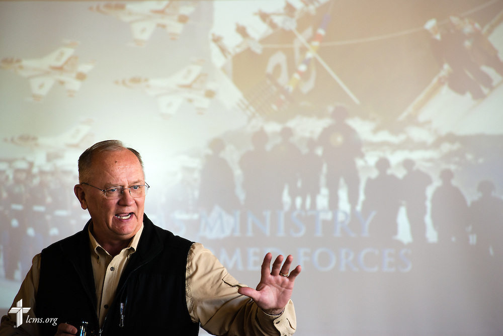 Chaplain Eric Erkkinen gives announcements during the 2015 West Coast Lutheran Chaplains Professional Development Seminar Tuesday, Jan. 27, 2015, at North Island Naval Air Station in San Diego, Calif. LCMS Communications/Erik M. Lunsford