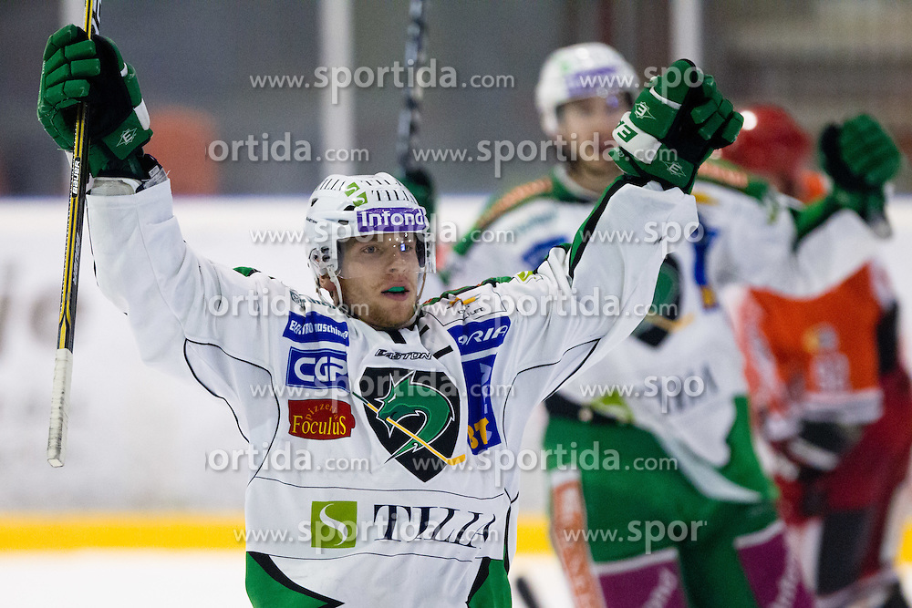 Ales Music (HDD Tilia Olimpija, #16) celebrates goal during ice-hockey match between HK Acroni Jesenice and HDD Tilia Olimpija in fourth game of Final at Slovenian National League, on April 2, 2012 at Dvorana Podmezaklja, Jesenice, Slovenia. HDD Tilia Olimpija won 5:2 and become national champions in season 2011/12. (Photo By Matic Klansek Velej / Sportida.com)