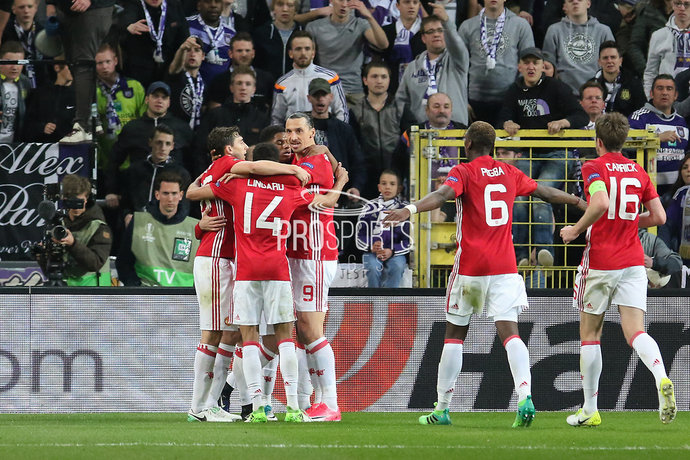 Henrikh Mkhitaryan Midfielder of Manchester United celebrates his goal 0-1 with Zlatan Ibrahimovic Forward of Manchester United during the UEFA Europa League Quarter-final, Game 1 match between Anderlecht and Manchester United at Constant Vanden Stock Stadium, Anderlecht, Belgium on 13 April 2017. Photo by Phil Duncan.