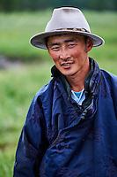 Mongolie, Province de Ovorkhangai, Vallee de l'Orkhon, jeune homme nomad // Mongolia, Ovorkhangai province, Orkhon valley, young nomad man