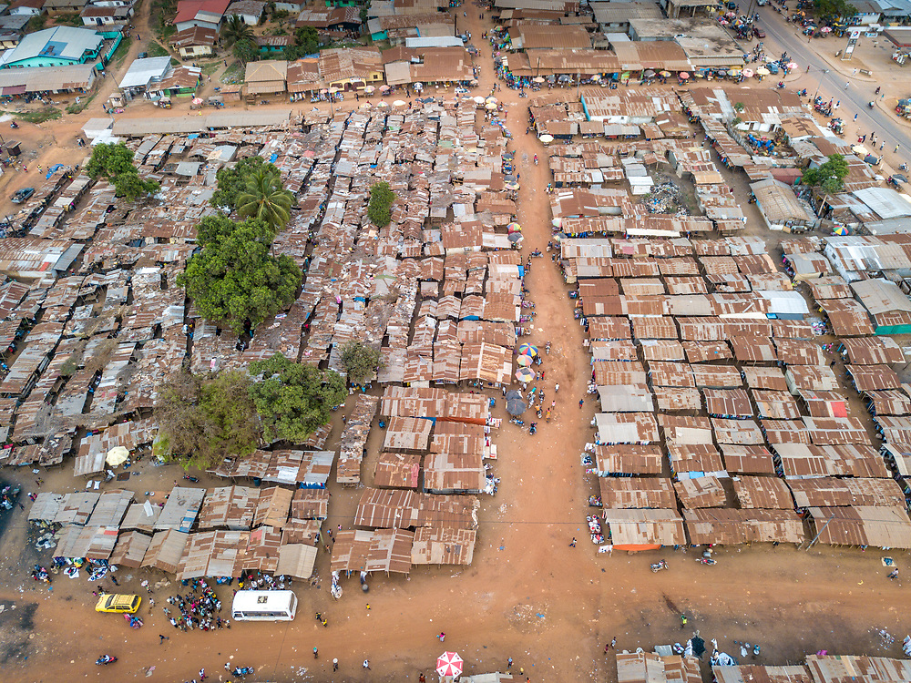 Overhead view of the market in Ganta, Liberia