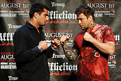 """June 3, 2009; New York, NY, USA; Gergard Mousasi (l) and Renato Sobral (r) pose at the press conference announcing their fight at Affliction M-1 Global's """"Trilogy"""".  The two will meet on August 1, 2009 at the Honda Center in Anaheim, CA."""