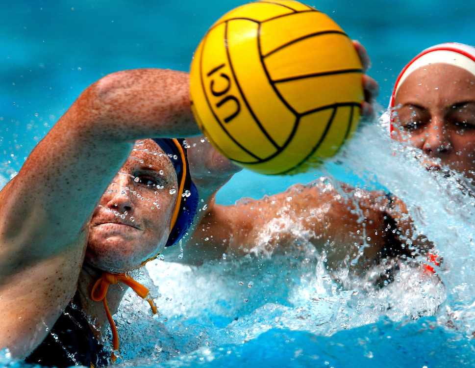 4/10/10 2:06:52 PM --- WATER POLO SPORTS SHOOTER ACADEMY 007 ---University of California's Kelsey Klatt scores off a back handed throw during a home match against Pacific at the Anteater Aquatics Complex on April 10, 2010. Photo by Jesse Hutcheson, Sports Shooter Academy