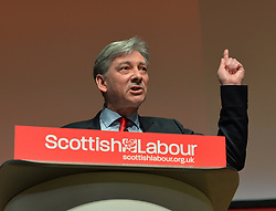 Scottish Labour leader Richard Leonard delivers his keynote speech at the Scottish Labour spring conference 2019 in Dundee, watched by Labour leader Jeremy Corbyn.<br /> <br /> &copy; Dave Johnston / EEm