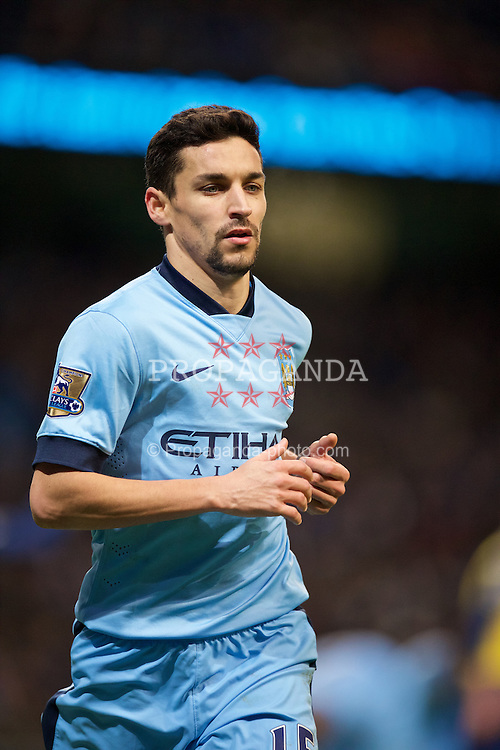 MANCHESTER, ENGLAND - Sunday, January 18, 2015: Manchester City's Jesus Navas in action against Arsenal during the Premier League match at the City of Manchester Stadium. (Pic by David Rawcliffe/Propaganda)