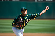 Oakland Athletics starting pitcher Sean Manaea (55) pitches against the Los Angeles Angels at Oakland Coliseum in Oakland, California, on September 6, 2017. (Stan Olszewski/Special to S.F. Examiner)