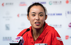 October 5, 2018 - Qiang Wang of China talks to the media after winning her quarter-final match at the 2018 China Open WTA Premier Mandatory tennis tournament (Credit Image: © AFP7 via ZUMA Wire)