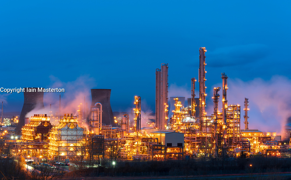 Night view of INEOS Grangemouth petrochemical plant and refinery in Scotland, UK