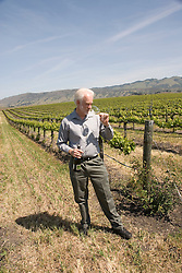 California, San Luis Obispo County: Winemaker Harry Hansen at Edna Valley Vineyards, noted for his Chardonnay. Model released..Photo caluis105-70753..Photo copyright Lee Foster, www.fostertravel.com, 510-549-2202, lee@fostertravel.com