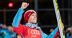 06.01.2016, Paul Ausserleitner Schanze, Bischofshofen, AUT, FIS Weltcup Ski Sprung, Vierschanzentournee, Bischofshofen, Siegerehrung Tageswertung, im Bild Michael Hayboeck (AUT) // Michael Hayboeck of Austria celebrate on the podium of the Four Hills Tournament of FIS Ski Jumping World Cup at the Paul Ausserleitner Schanze in Bischofshofen, Austria on 2016/01/06. EXPA Pictures © 2016, PhotoCredit: EXPA/ JFK