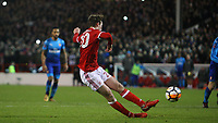 Kieron Dowell slips as he puts Forest' second penalty past David Ospina  during The Emirates FA Cup Third Round match between Nottingham Forest and Arsenal at City Ground on January 7, 2018 in Nottingham, England.
