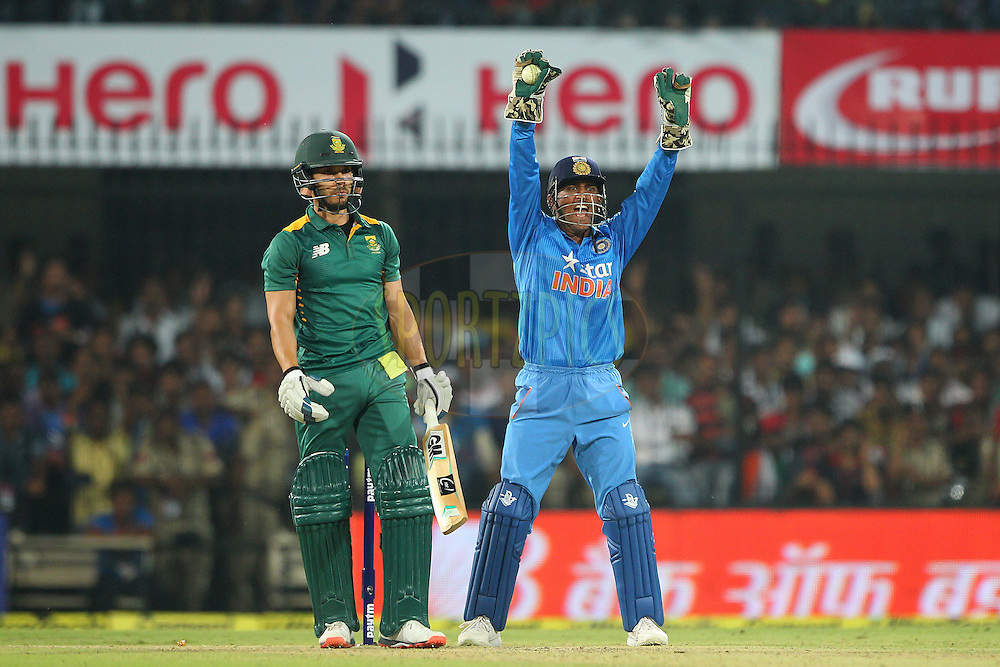 MS Dhoni, captain, of India celebrates the wicket of Farhaan Behardien of South Africa  during the 2nd Paytm Freedom Trophy Series One Day International ( ODI ) match between India and South Africa held at the Holkar Stadium in Indore, India on the 14th October 2015<br /> <br /> Photo by Ron Gaunt/ BCCI/ Sportzpics
