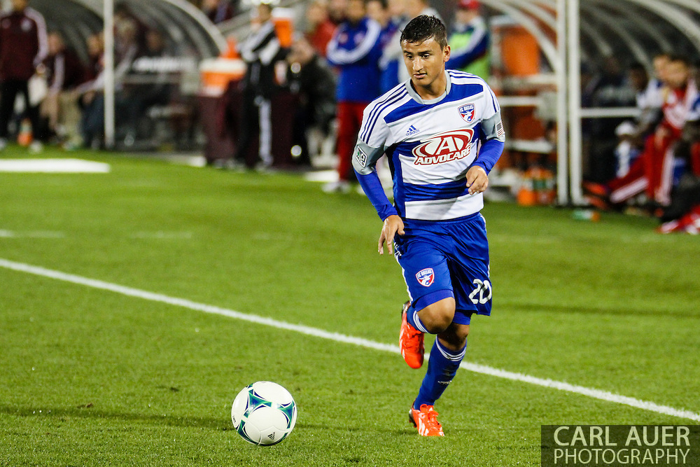 September 14th, 2013 -  FC Dallas midfielder Mauro Diaz (20) brings the ball up the sideline in the second half of action in the MLS Soccer game between FC Dallas and the Colorado Rapids at Dick's Sporting Goods Park in Commerce City, CO