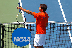 May 23, 2011; Stanford, CA, USA;  Michael Shabaz argues a call during the semifinals of the men's team 2011 NCAA Tennis Championships against the Ohio State Buckeyes at the Taube Family Tennis Center.