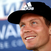 March 13, 2016, Palm Springs, CA:<br /> Tomas Berdych signs autographs at the Tennis Warehouse booth during the 2016 BNP Paribas Open at the Indian Wells Tennis Garden in Indian Wells, California Sunday, March 13, 2016.<br /> (Photos by Billie Weiss/BNP Paribas Open)