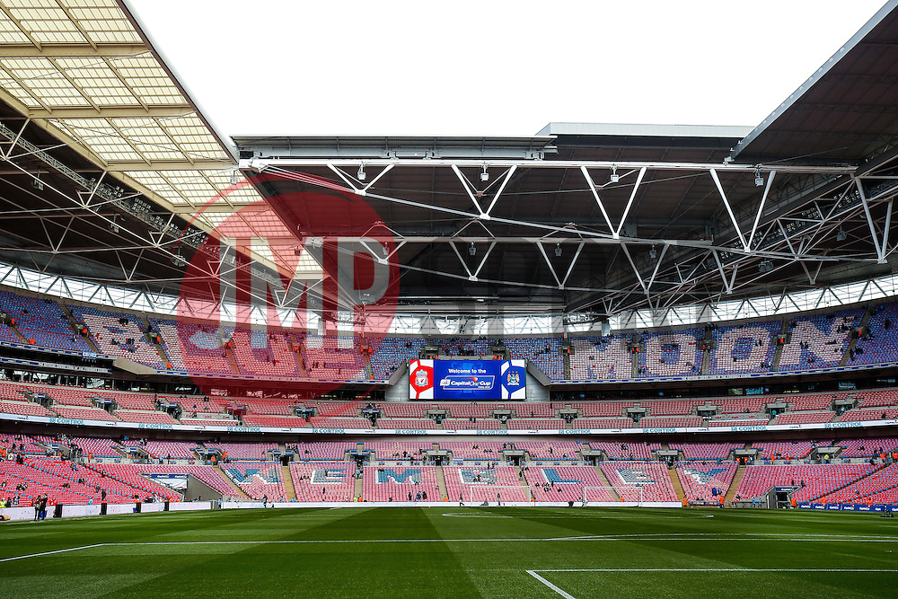 "General View ot the Manchester City end at Wembley Stadium with seat covers spelling out ""Blue Moon"" and the club crest - Mandatory byline: Rogan Thomson/JMP - 28/02/2016 - FOOTBALL - Wembley Stadium - London, England - Liverpool v Manchester City - Capital One Cup Final."