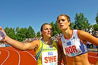 Friidrett<br /> Europacup kvinner<br /> 24.06.2007<br /> Foto: Hasse Sjøgren, Digitalsport<br /> <br /> Susanna Kallur og Christina Vukicevic