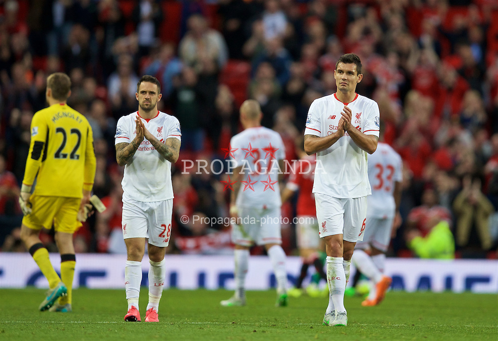MANCHESTER, ENGLAND - Saturday, September 12, 2015: Liverpool's Danny Ings and Dejan Lovren look dejected after the 3-1 defeat to Manchester United during the Premier League match at Old Trafford. (Pic by David Rawcliffe/Propaganda)